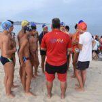Un grupo de participantes en el Campeonato de España Juvenil y Junior de Verano de Salvamento y Socorrismo celebrado en Dumbría. 14/07/18