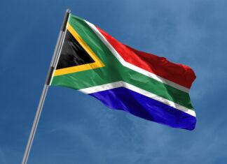 Bandera de Sudáfrica ondeando