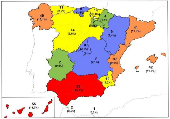 Distribución por Comunidades Autónomas de las personas fallecidas por ahogamientos durante 2018 según el INA.