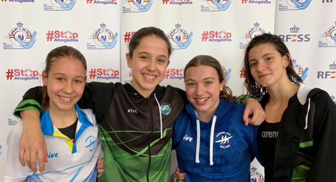 Málaga Socorrismo Sport logró la mejor marca nacional en 4x50 metros natación con obstáculos en la categoría cadete femenina (Yaiza Esteban Camarillo, Nerea Grueso Peña, Alejandra Montalvo Bienvenido y Estefanía Carrasco Gousseva).