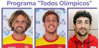 Los tres socorristas que forman o han formado parte de la campaña de difusión de los valores olímpicos, Carlos Alonso, David Buil y Carlos Gómez.