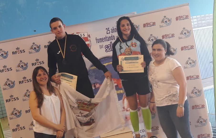 50 metros remolque de maniquí cadete: Sofía Prieto Iñesta (C. Salvamento y Socorrismo Benavente) y Carlos González Sauras (C. Polideportivo Andorra).