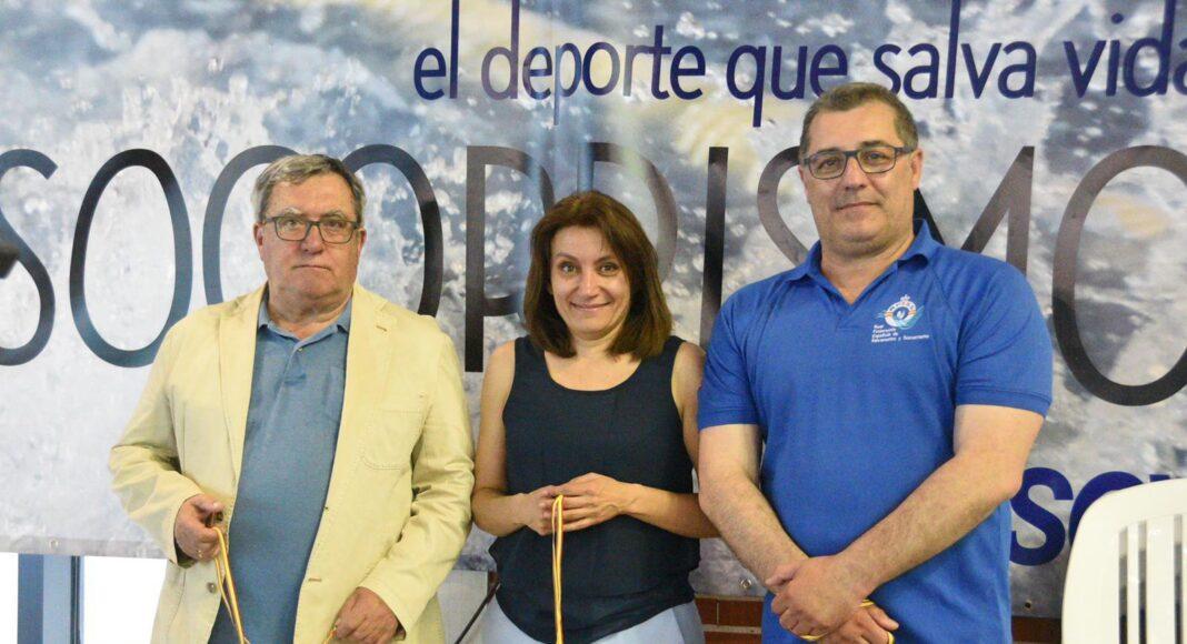 Jesús Toyano, presidenta del Comité Nacional de Árbitros, Isabel García Sanz, presidenta de la Federación Española y Elu Sanguino Oliva. jefe de competición del Campeonato. #SOSEuropeCope19