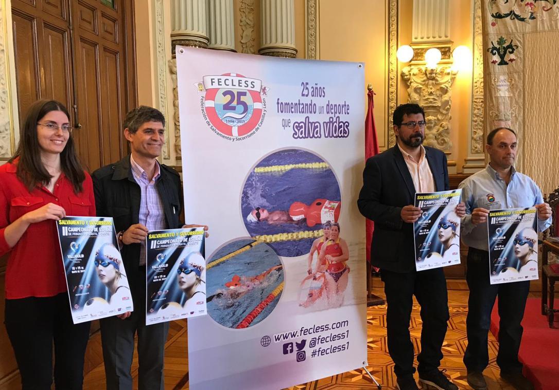 Un momento de la presentación del Campeonato de España de Primavera de Salvamento y Socorrismo infantil y cadete en el Ayuntamiento de Valladolid.
